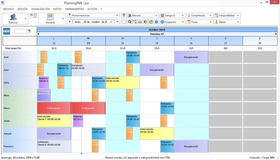 Gestione el plan de trabajo diario y semanal mediante PlanningPME